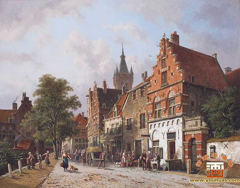 代尔夫特的景色_A View In Delft_埃沃森油画作品欣赏