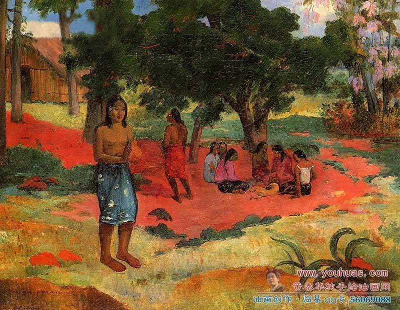 高更油画作品欣赏:树木,森林,行走和观赏,民俗,建筑,睡眠和休闲 trees