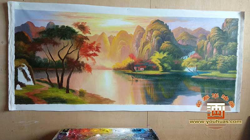 半成品_金色桂林,漓江早晨精品山水油画作品