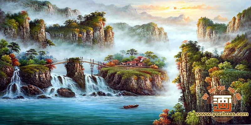 山水画 高山流水油画风景画