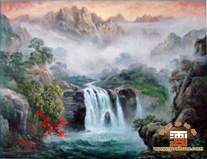高山流水油画作品写实派高山流水客厅风水