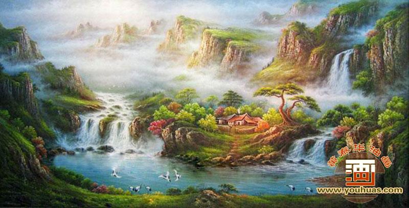 高山流水油画风景画作品