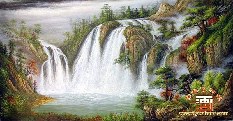 高山流水油画风景画