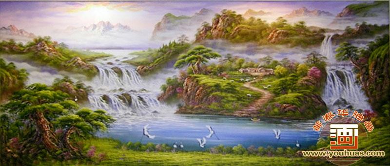 山水画聚宝盆 高山流水油画风景
