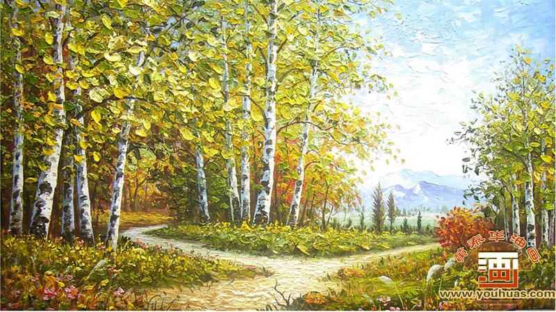 【白桦林油画 写实派白桦林风景画 白桦树风景油画】