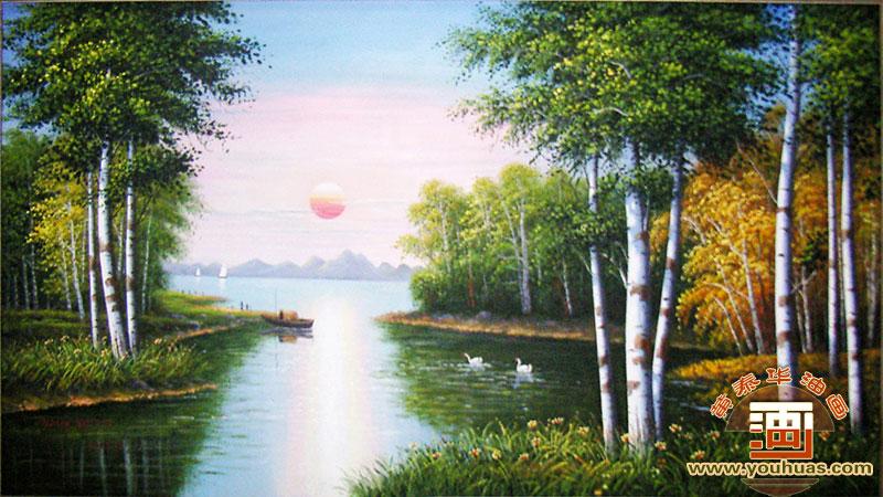 油画作品 风景画 白桦林油画风景画 > 作品编号: bhl8010 红太阳白桦