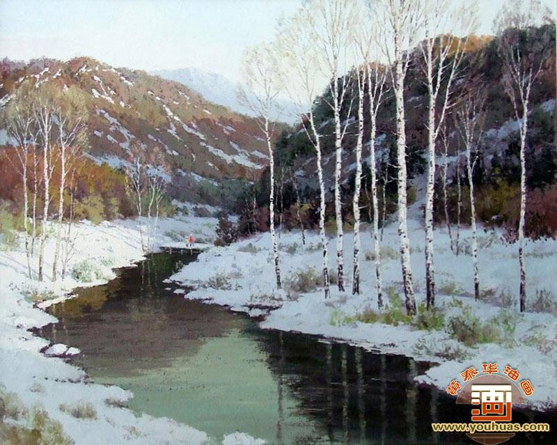 作品展示 风景画 白桦林油画风景画 > bhl8011 白桦林 桦树林油画