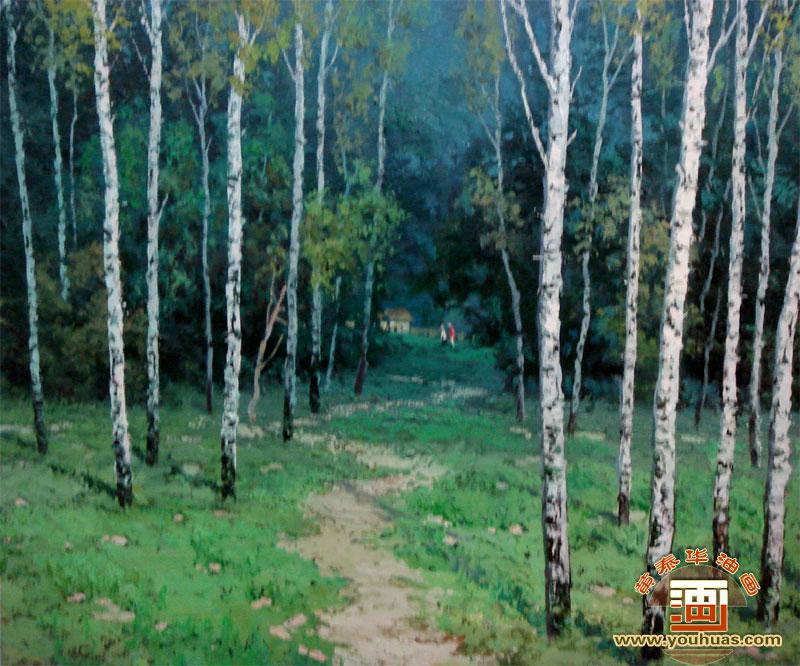 油画作品 风景画 白桦林油画风景画 白桦林 桦树林油画 _作品编号