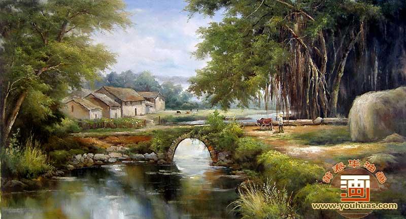 榕树人家村庄风景油画 村景