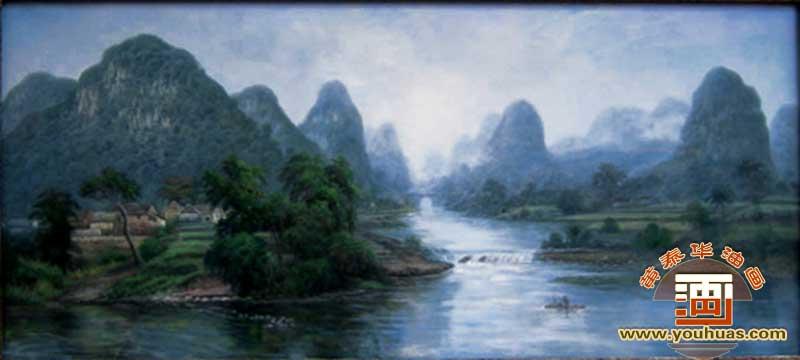 桂林山水村庄风景油画 村景