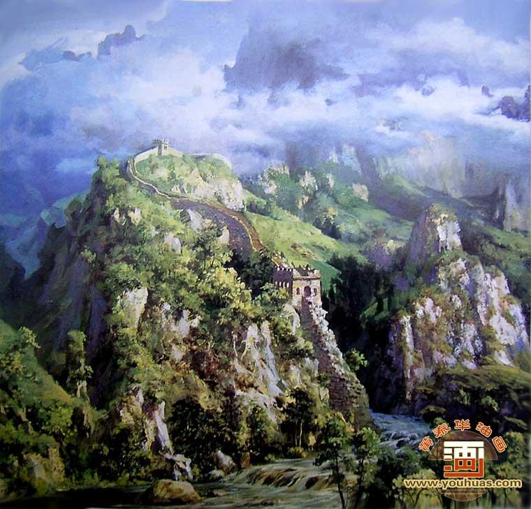 长城油画风景画