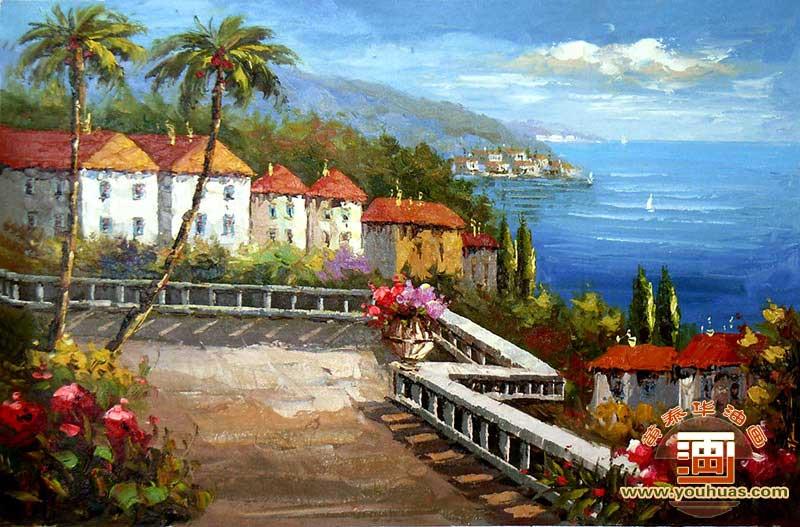 【地中海油画 地中海风格,写实派地中海风景油画作品