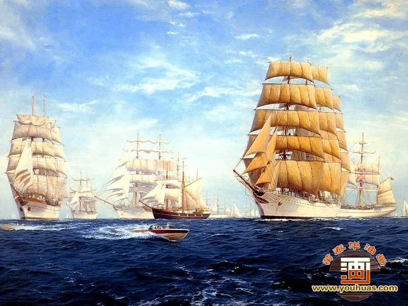 帆船油畫風景畫
