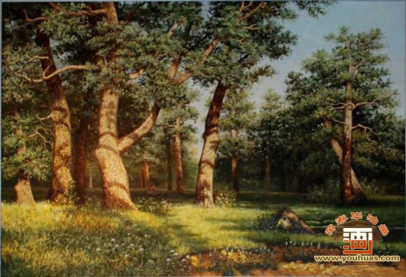 橡树林风景希施金油画_俄罗斯油画风景
