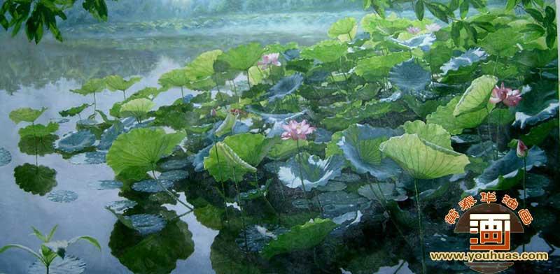 荷塘风景油画作品