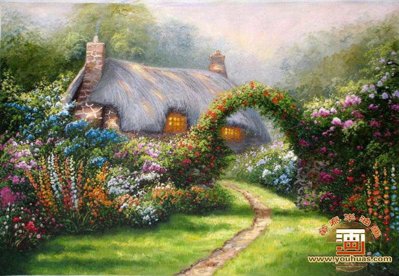 油画作品 风景画 花园风景油画作品 hy8004花园风景油画 _作品编号