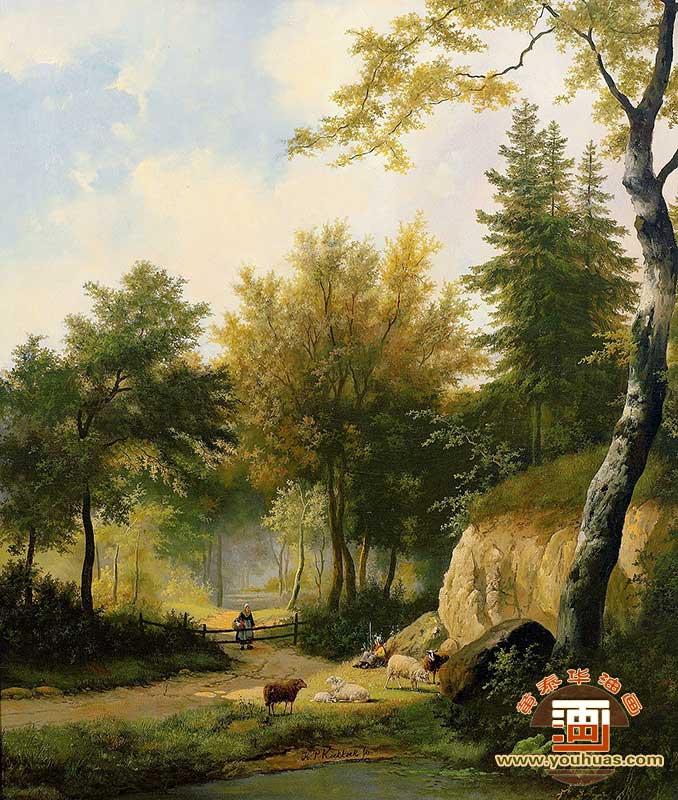 油画作品 风景画 欧美油画风景作品 om8041欧美风景油画 _作品编号