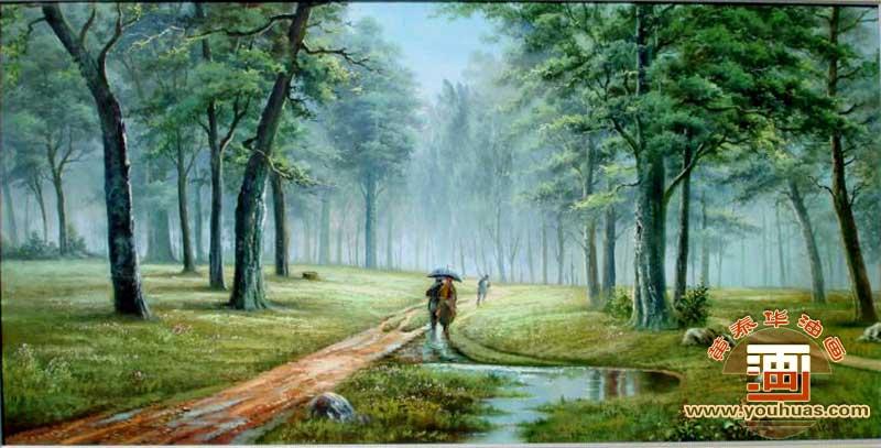 雨中情油画风景