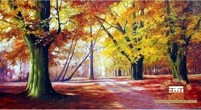 油画作品 风景画 森林风景油画作品 sl8032森林风景油画 _作品编号