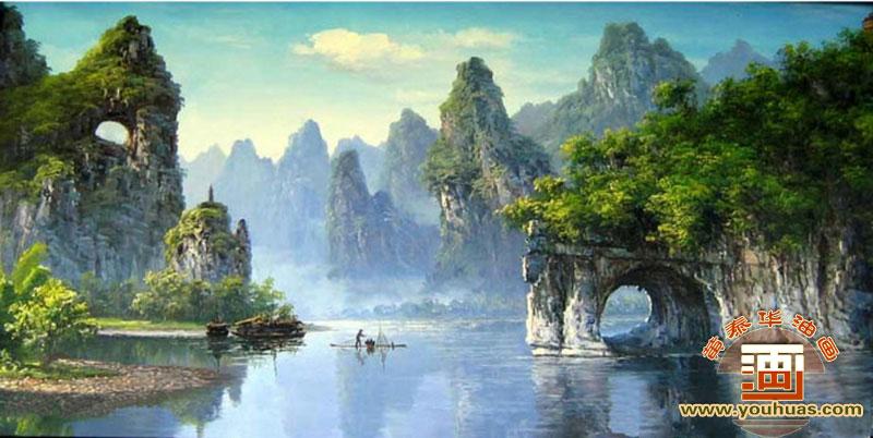 桂林山水风景油画图片