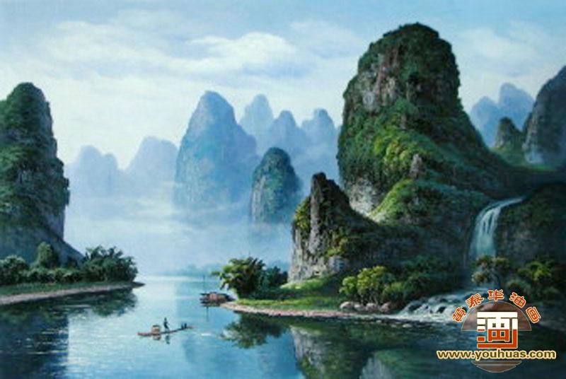 桂林山水油画风景