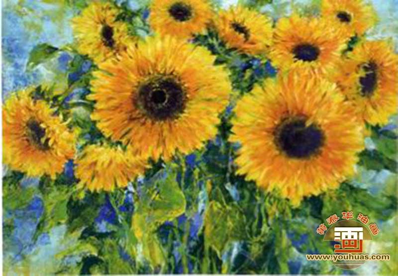 【向日葵_梵高向日葵_印象派向日葵_抽象派向日葵油画