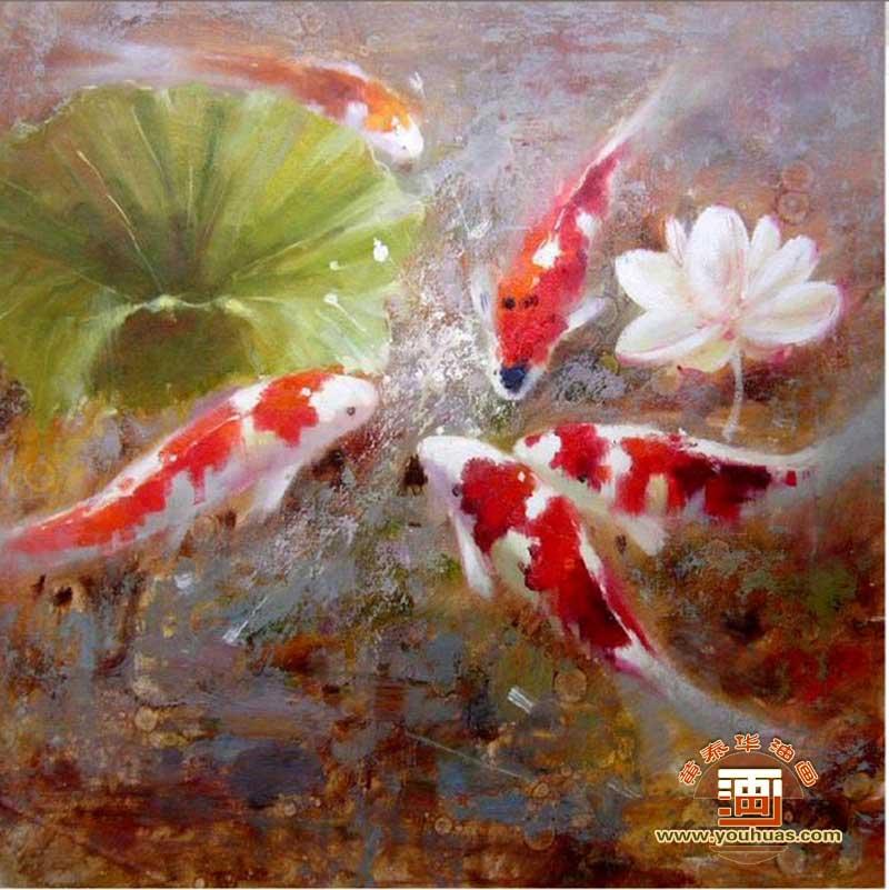 动物 油画 鱼 鱼类
