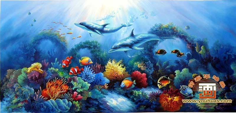 竖幅 海底世界 海底景 海底画 海底壁画