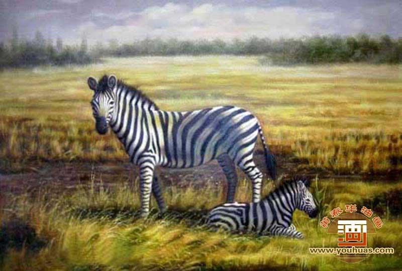 油画作品 动物画 斑马 画  bm1001