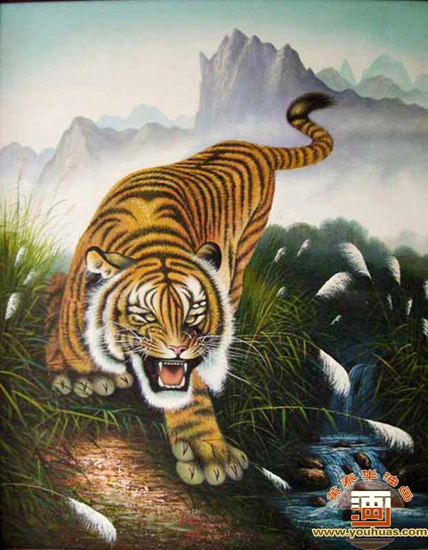 油画作品 动物画 老虎 画 > 作品编号: lh1003 老虎油画