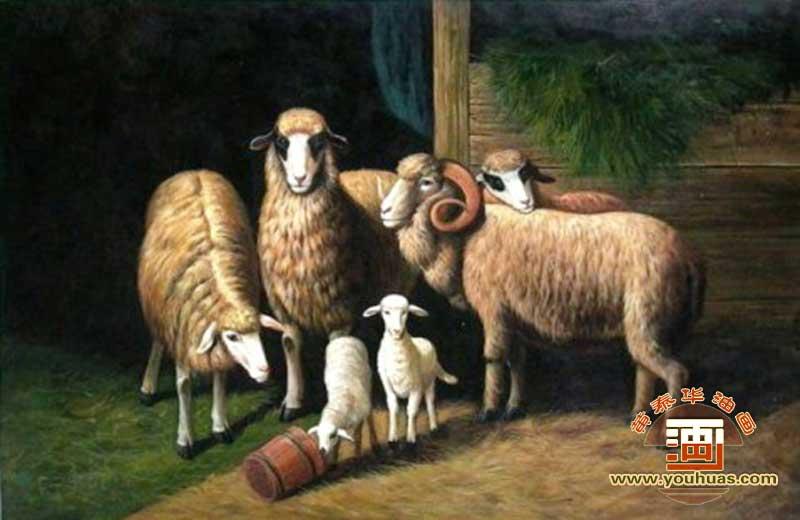 油画作品 动物画 羊类 画  y1005