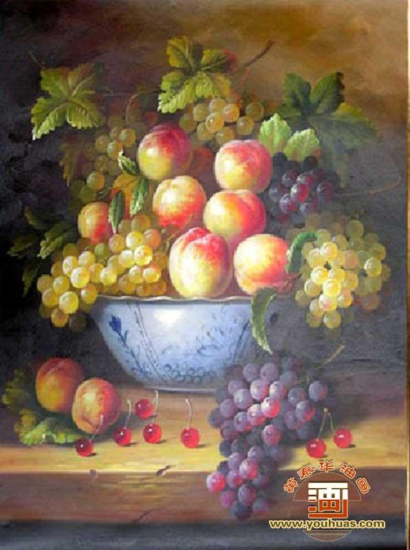 葡萄桃子静物水果油画