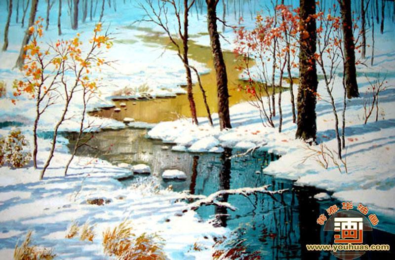 风景画 雪景油画作品