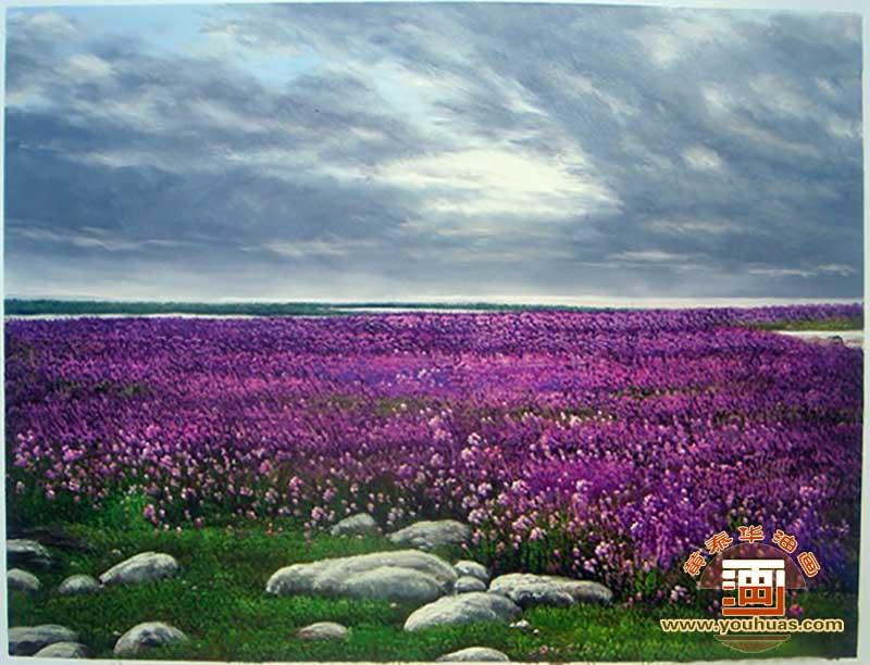 薰衣草紫色庄园田园风景油画作品欣赏