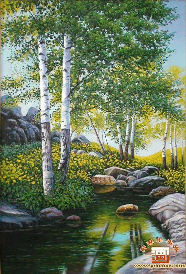 晌午中白桦林风景油画_竖幅