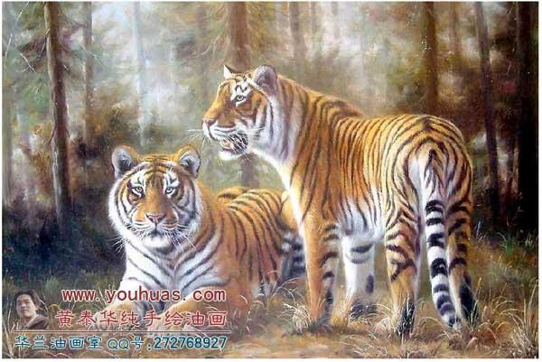 高档纯手绘动物 油画