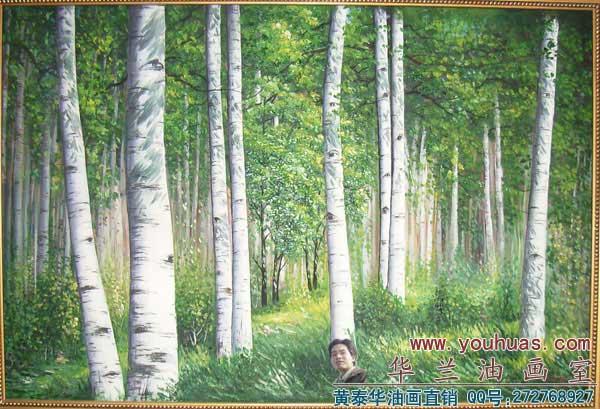 白桦树林风景 油画作品_8005