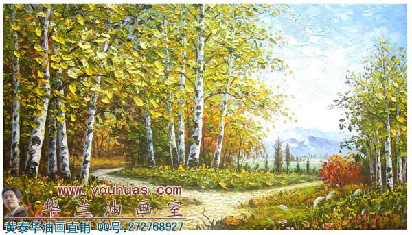 白桦树林风景油画作品