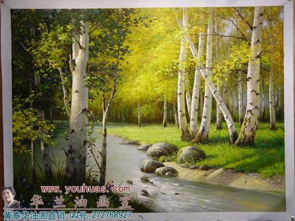 【白桦树林油画】白桦林|白桦林油画风景
