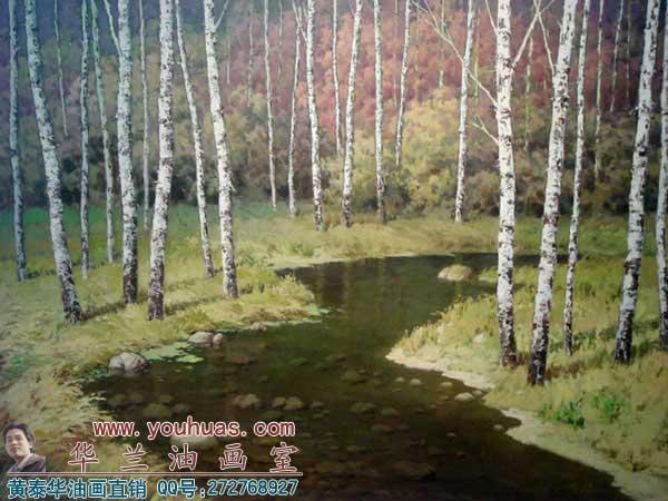 白桦树林风景 油画作品_8013