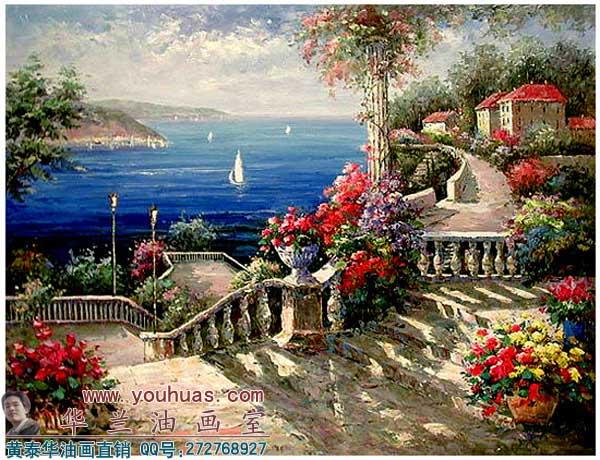 写实地中海油画风景图片