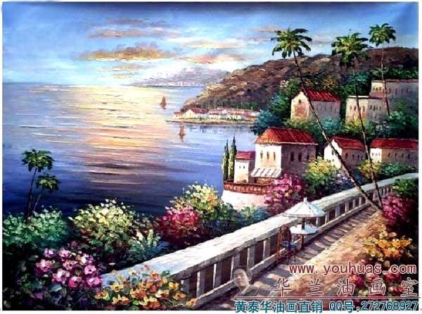 >> 油画作品 >> 风景油画 >> 地中海油画_8031