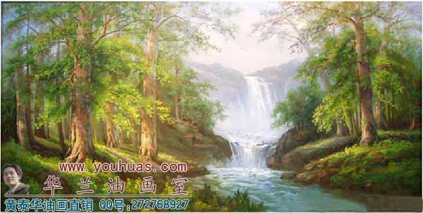 原创中国山水油画风水油画风景高山流水油画作品