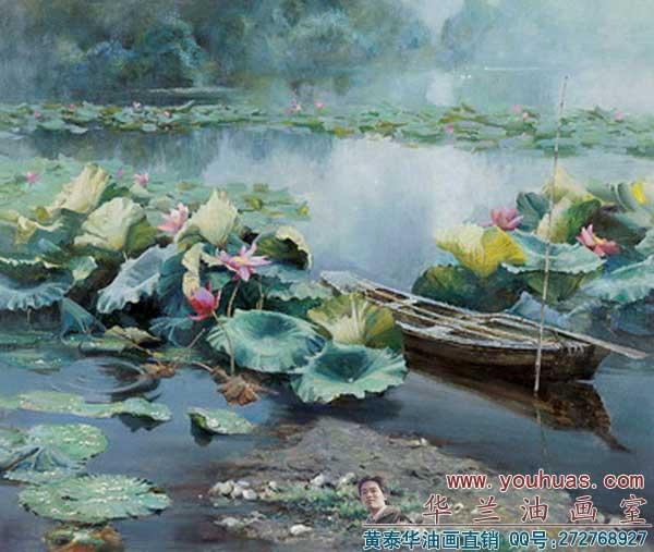 塘 写实 荷塘风景 油画 作品图片