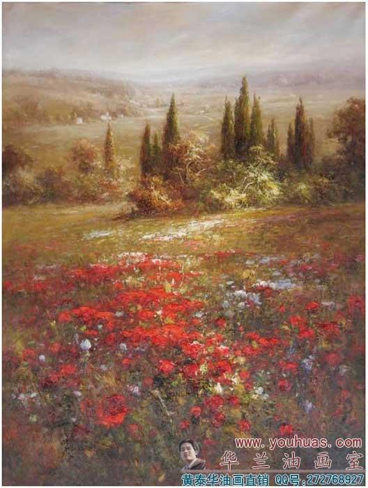 花园风景油画_8005