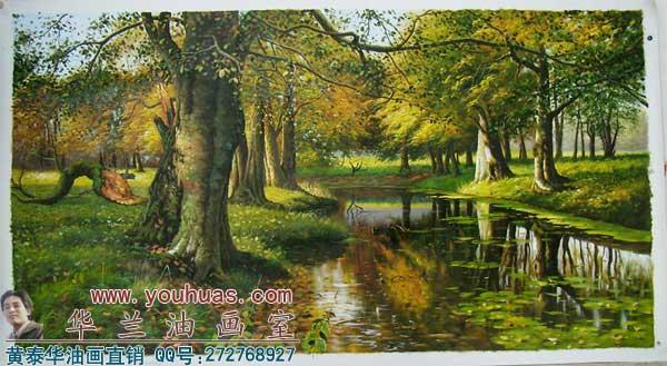 夏天森林风景 油画