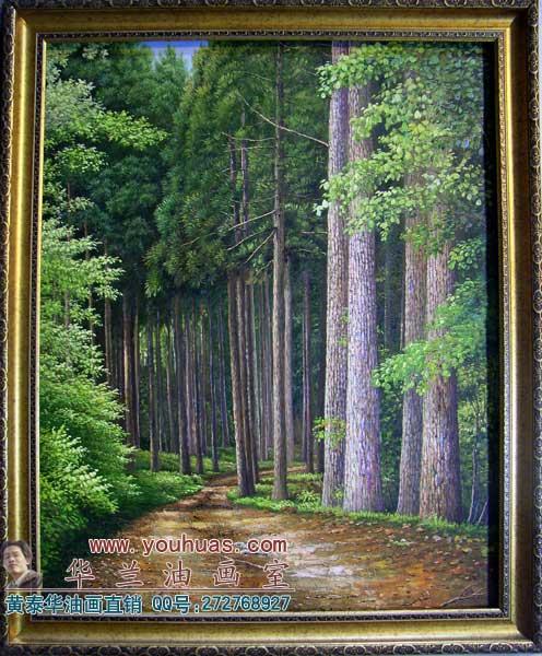 森林风景油画_8012