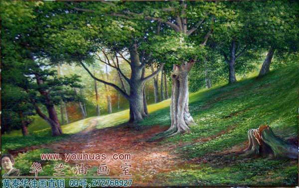 森林风景油画_8040