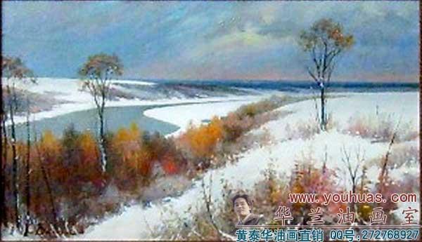 【冬天风景油画】冬天,雪景油画,春夏秋冬风景画